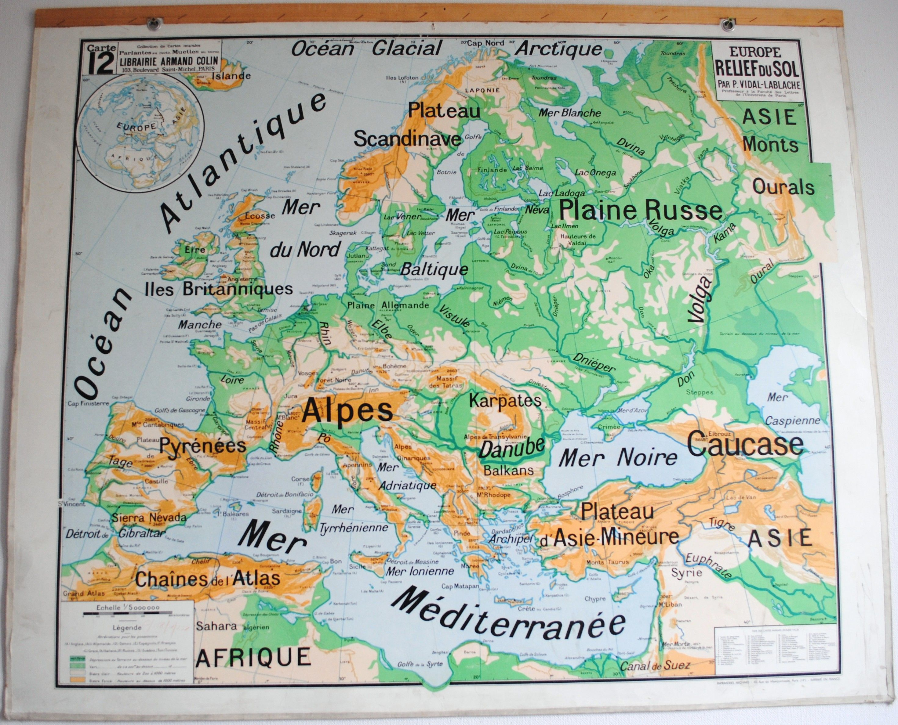 Carte Vidal Lablache N 12 Europe Relief Du Sol Jelidee