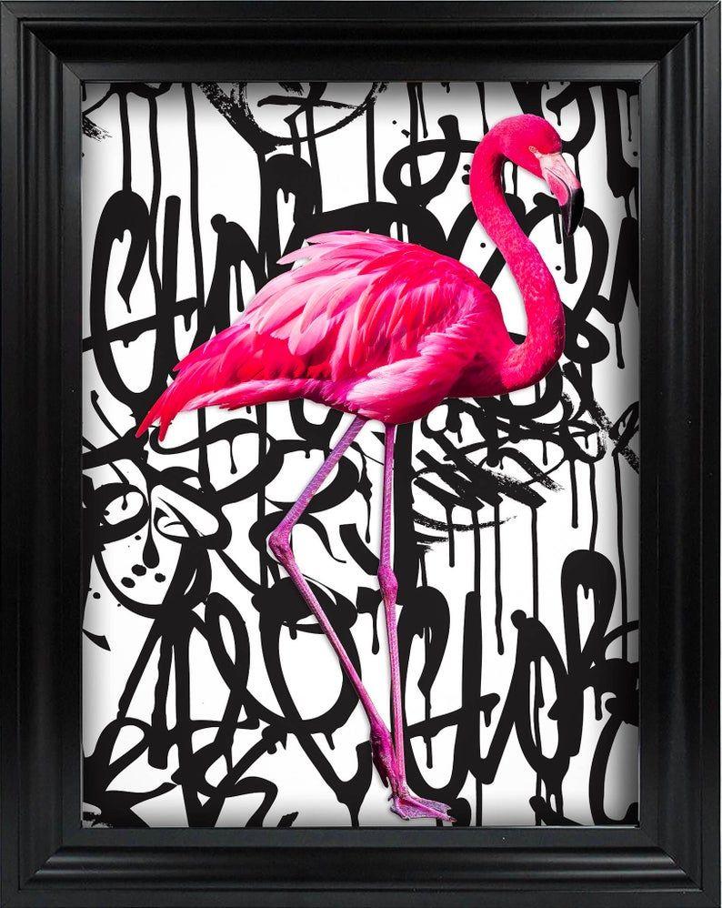 Flamingo Art Print, Urban Art, Handmade Wall Art, Flamingo Poster, Kids Bedroom Prints, Birthday Gift, Housewarming gift, Mothers Day gift
