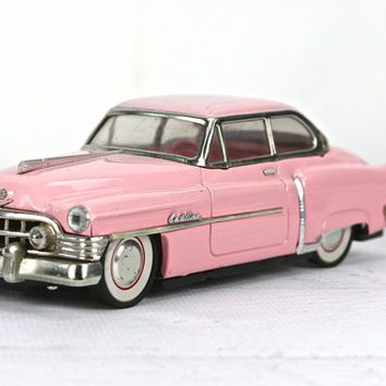 Pink Cadillac Friction Car 1950 Vintage Metal Toy
