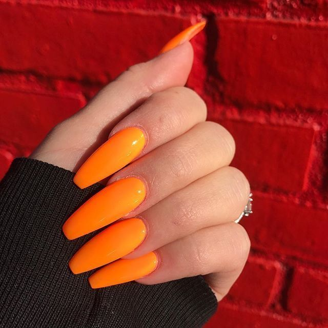 Pinterest Nandeezy Orange Acrylic Nails Orange Coffin Nails Orange Nails