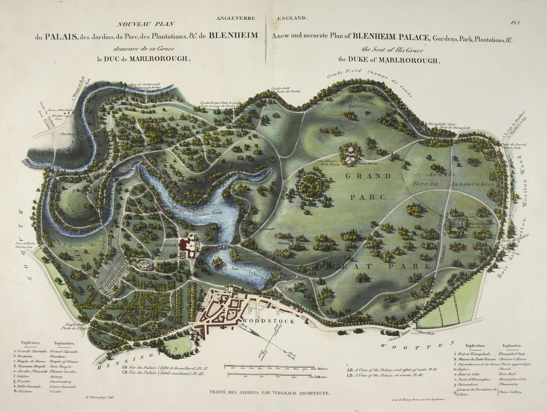 Blenheim Palace Park and gardens in 1835