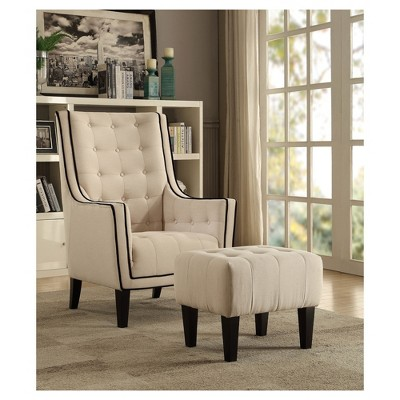 Accent Chairs Acme Furniture Cream Adult Unisex Beige Chair