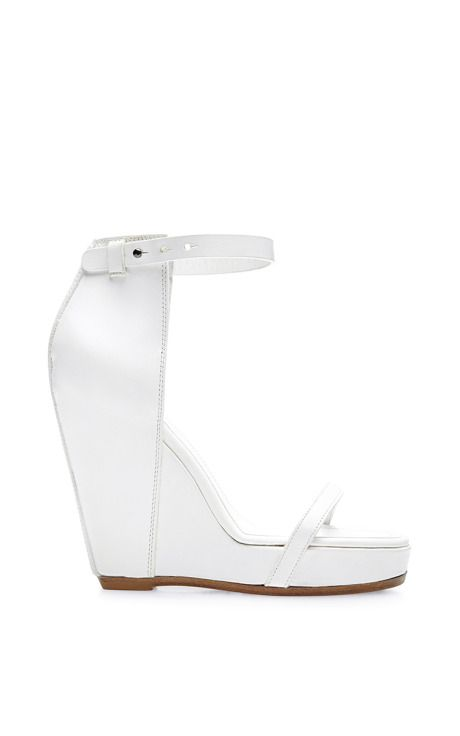 Web Wedge Leather Sandals by Rick Owens Now Available on Moda Operandi