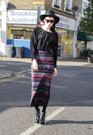 Vintage 1980's Black/Aztec Print Velour Maxi Dress
