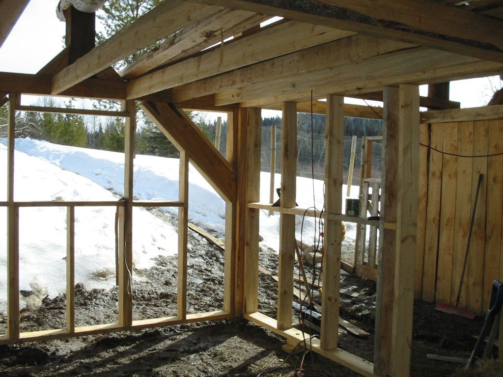 Building a Barn - here is the meat bird room framed. | Homestead ...