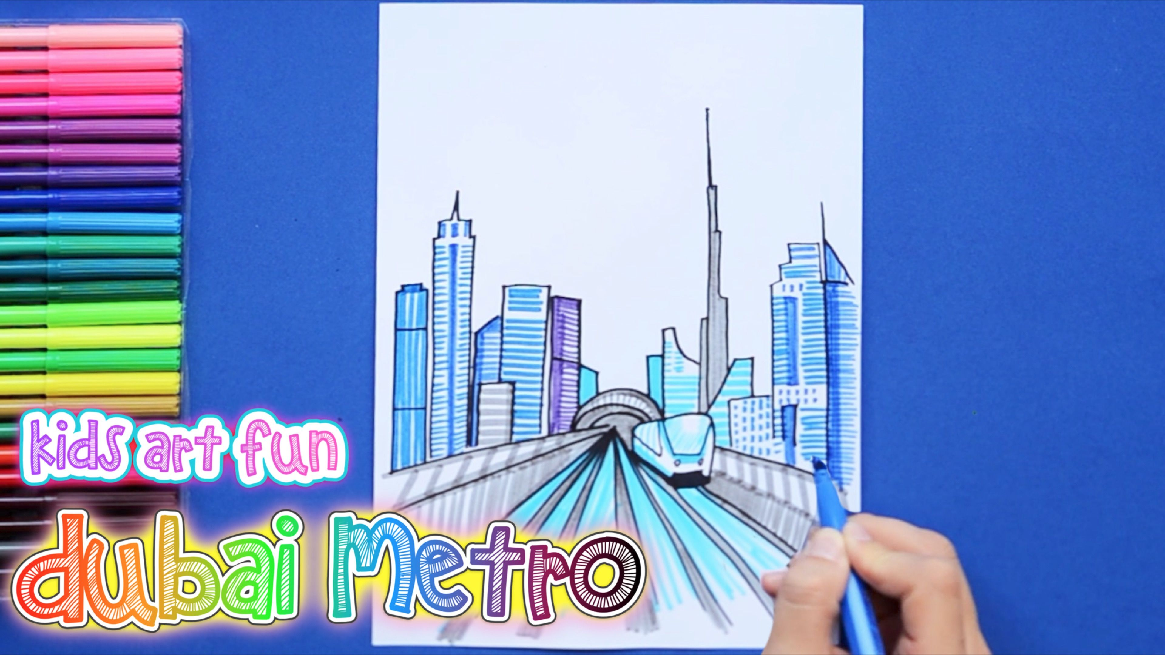 How To Draw And Color Dubai Metro With Dubai Skyline
