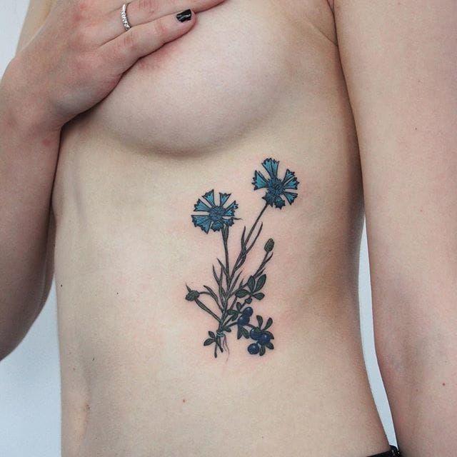 Cornflower Tattoo by Olga Nekrasova
