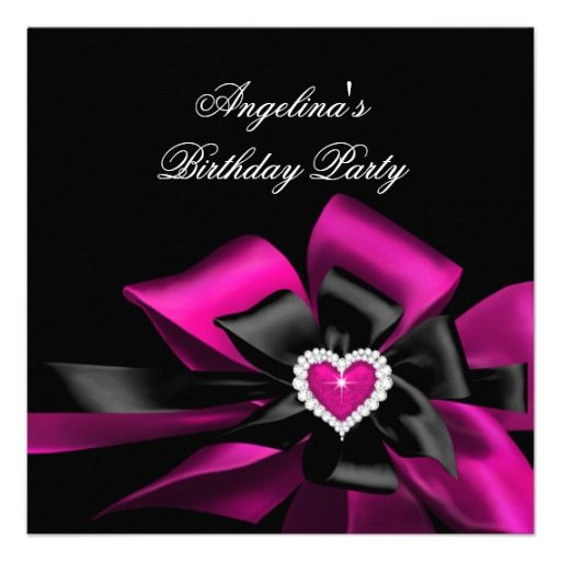 Pink Plum Heart Black Bow Image Birthday Party