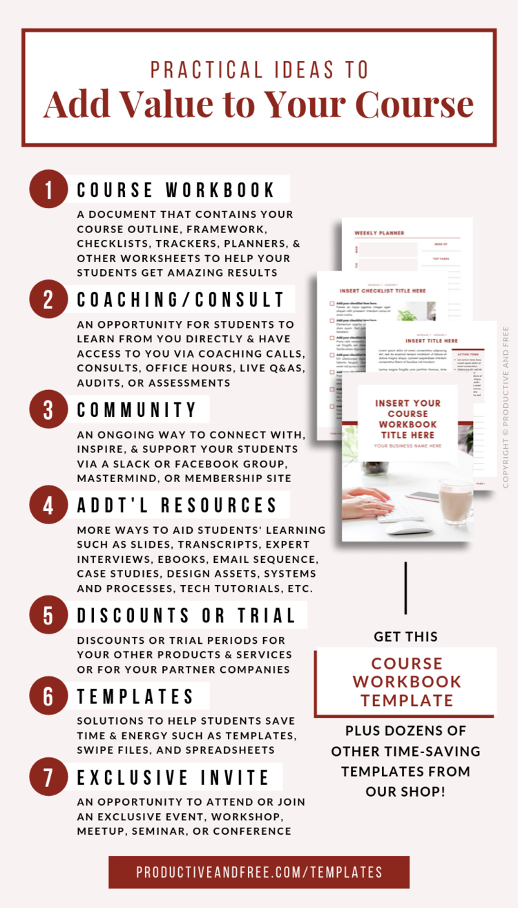 How To Increase The Value Of Your Online Course With Images Workbook Template Workbook Checklist Template