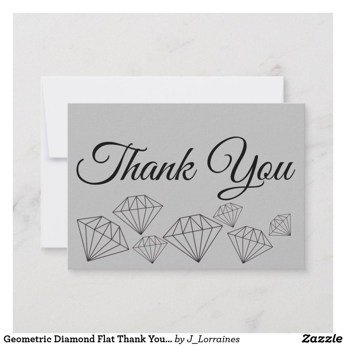 Geometric Diamond Flat Thank You Card Thankyou Thankyounotes Thankyoucards Thank You Note Cards Thank You Cards Geometric Diamond