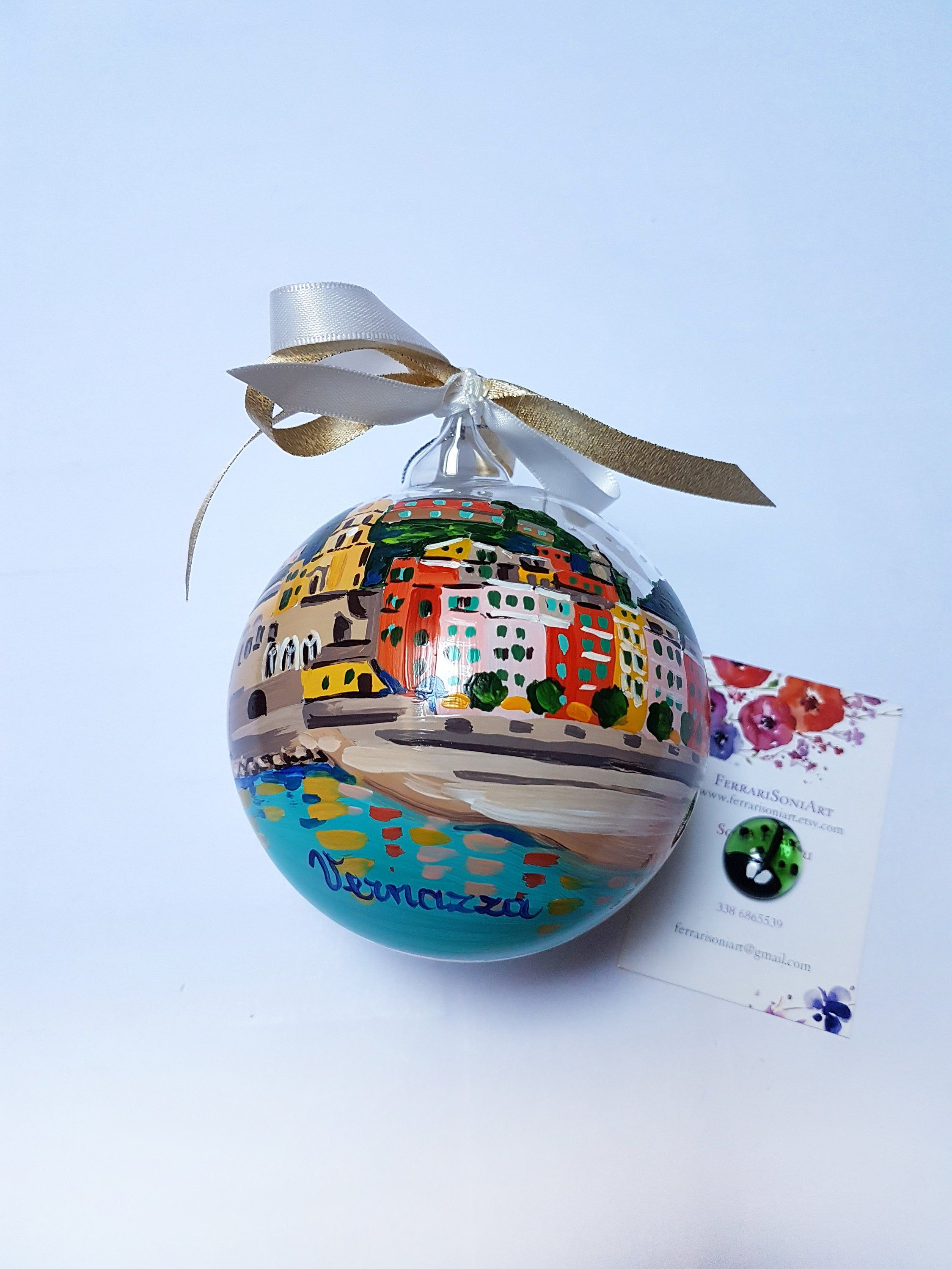 VERNAZZA custom Christmas ornament hand-painted on glass ball. Christmas gift for lovers Italy, sphere for travelers