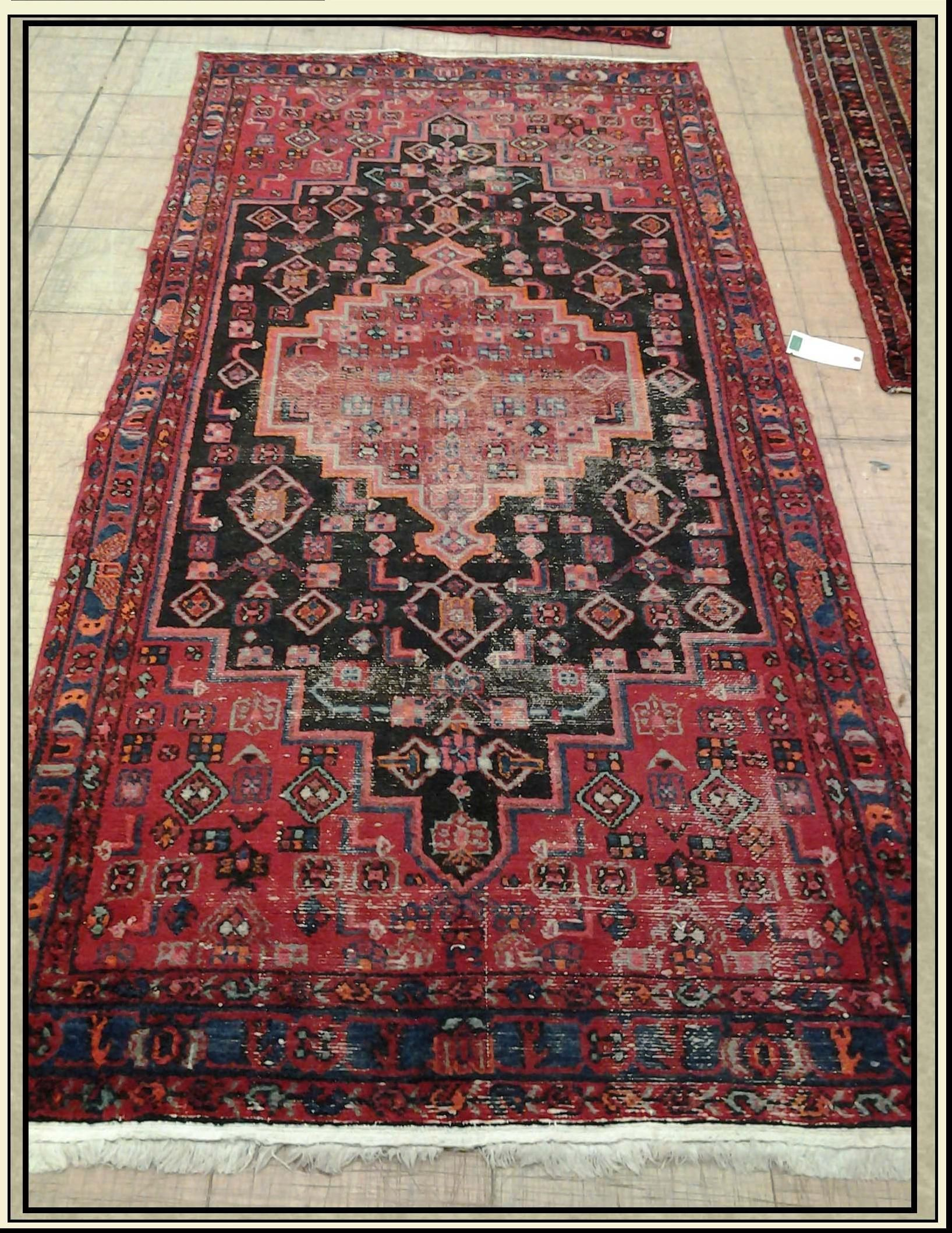 Wool Area Rug From Iran Hamadan Red Black 4 X 8 With Images