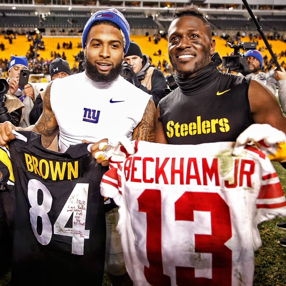 Odell Beckham and Antonio Brown. Jersey swap 12/4/2016.