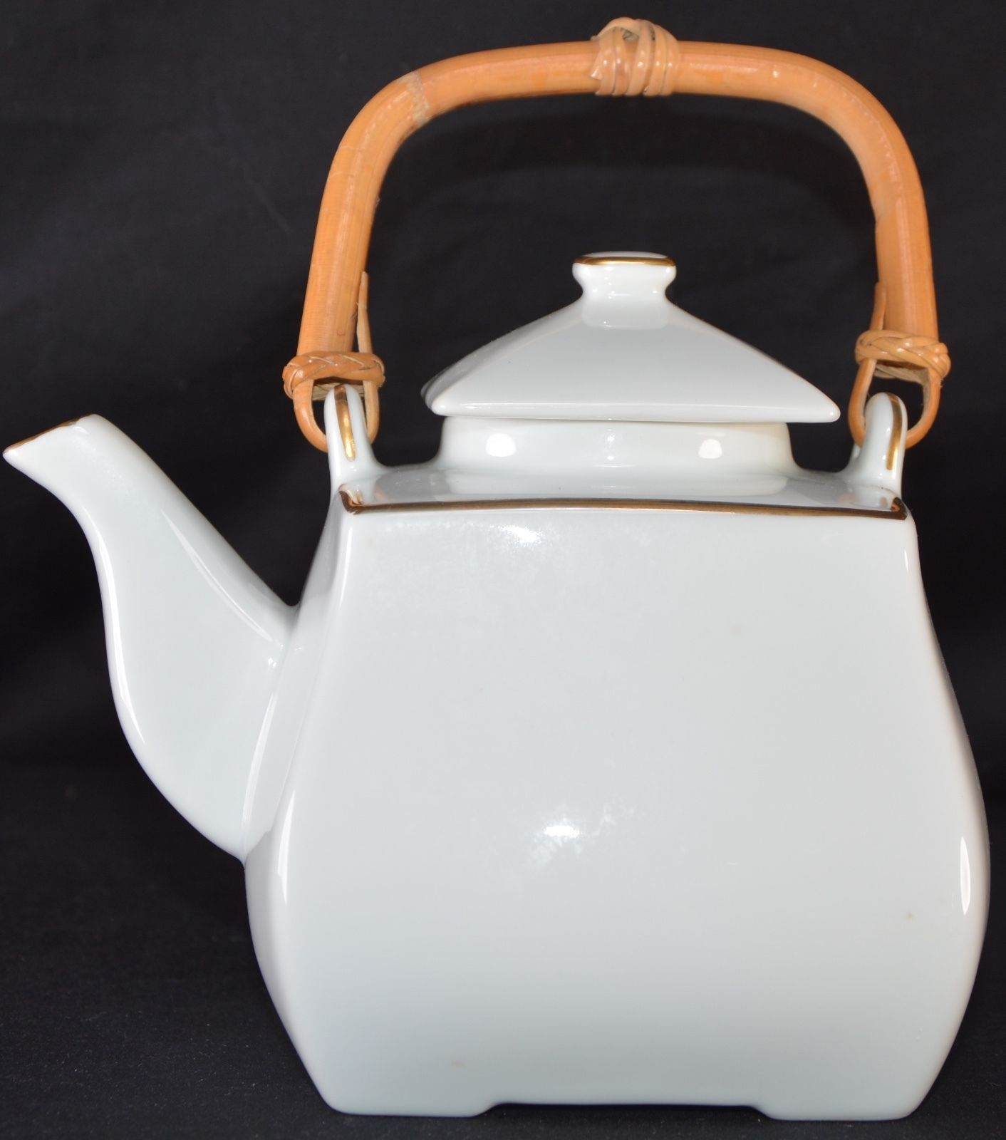 georges briard white porcelain with gold teapot wooden handle