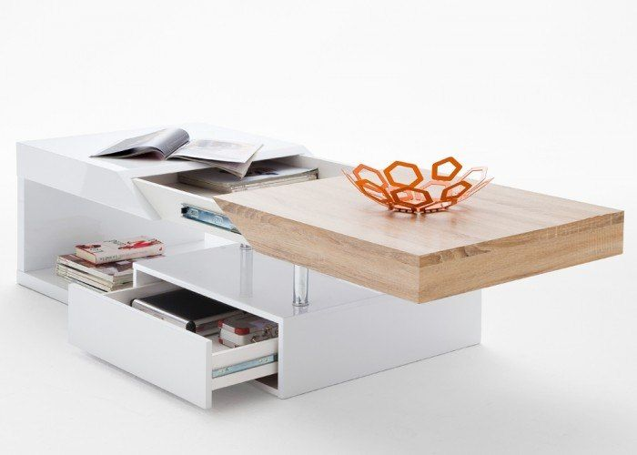 Couchtisch mit Schublade Hope Wohnzimmertisch Weiß Hochglanz 8813