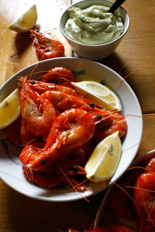 Peel and eat shrimp with herbed aioli ***