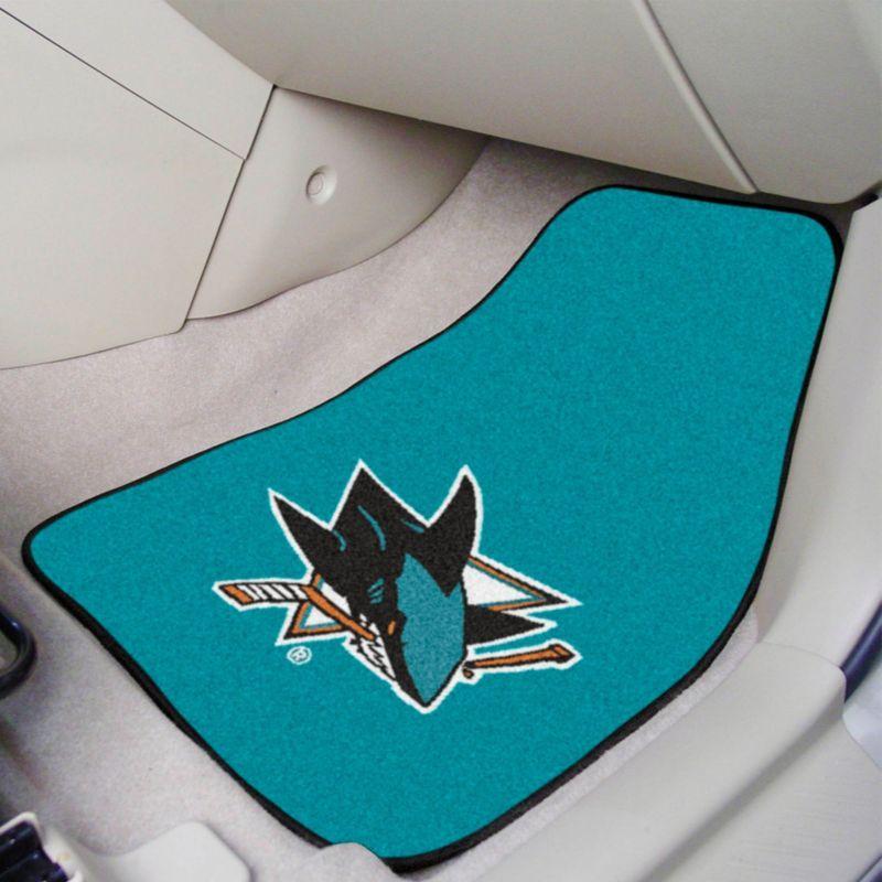 San Jose Sharks Two Piece Printed Carpet Car Mat Set, Team