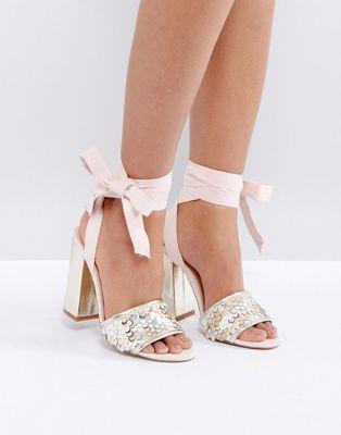 656711c6529 Coco Wren Gold Sequin Vamp Block Heel Sandal