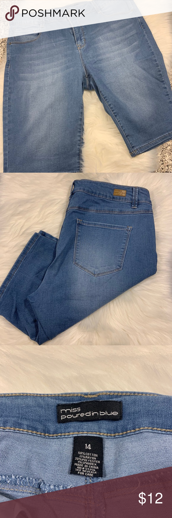 Miss Poured In Blue Denim Shorts Size 14 Guc Blue Denim Shorts Blue Denim Denim Shorts
