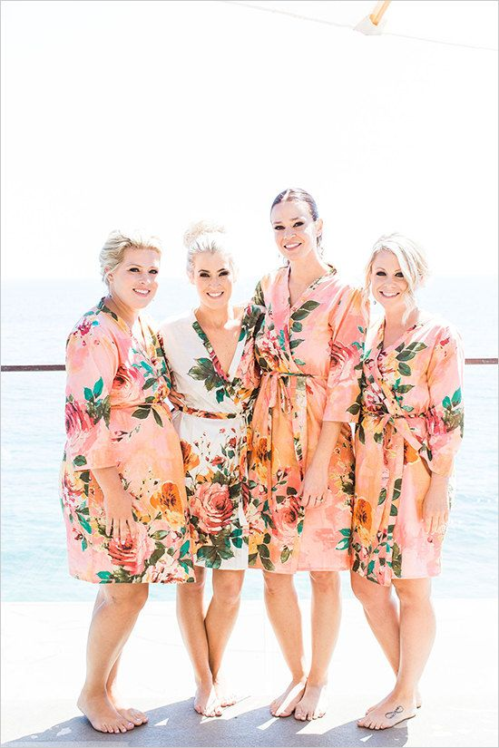 3dd7d43243 Coral Large Floral Blossom Bridesmaids Robe Sets