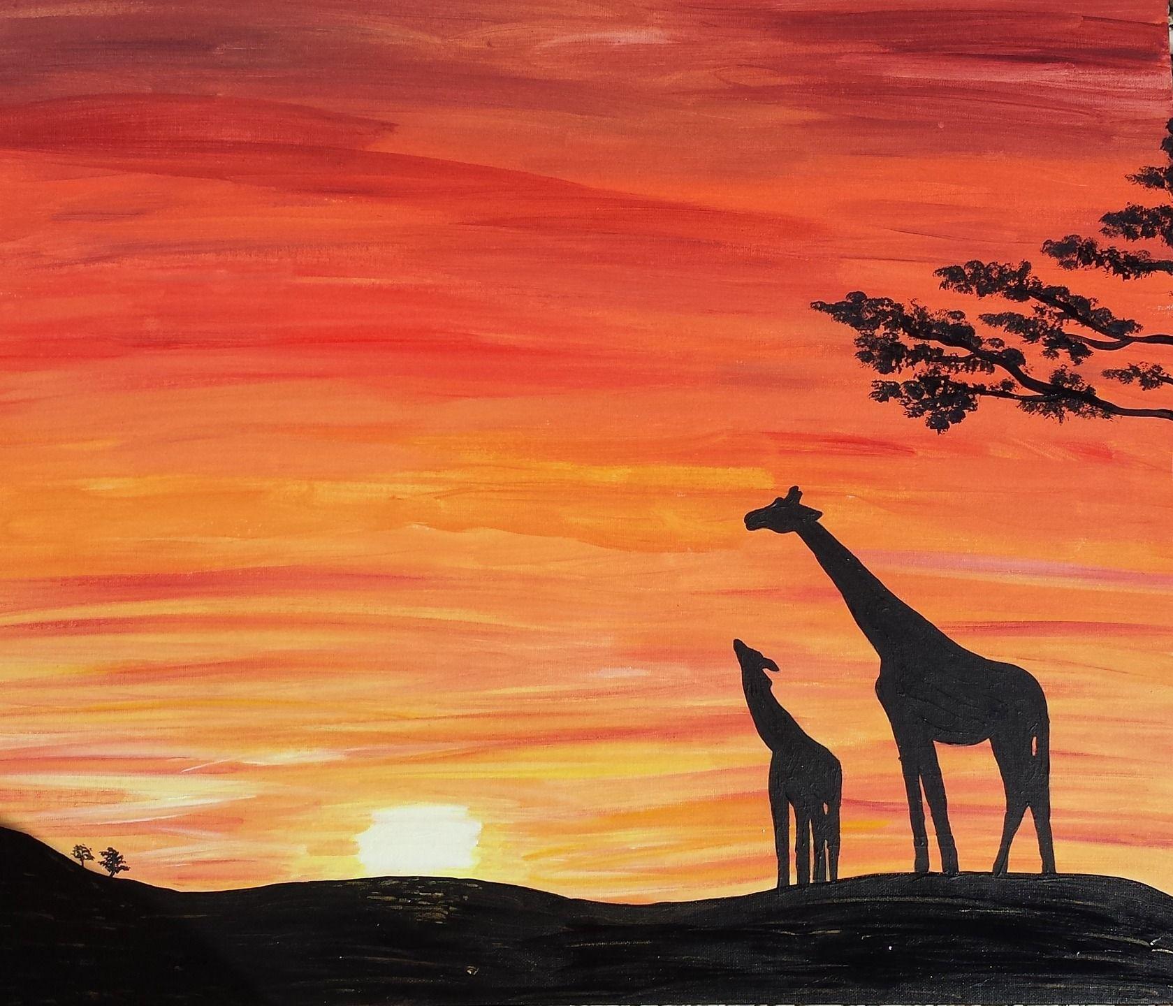 Magnifique coucher de soleil sur la savane peintures par - Dessin paysage africain ...