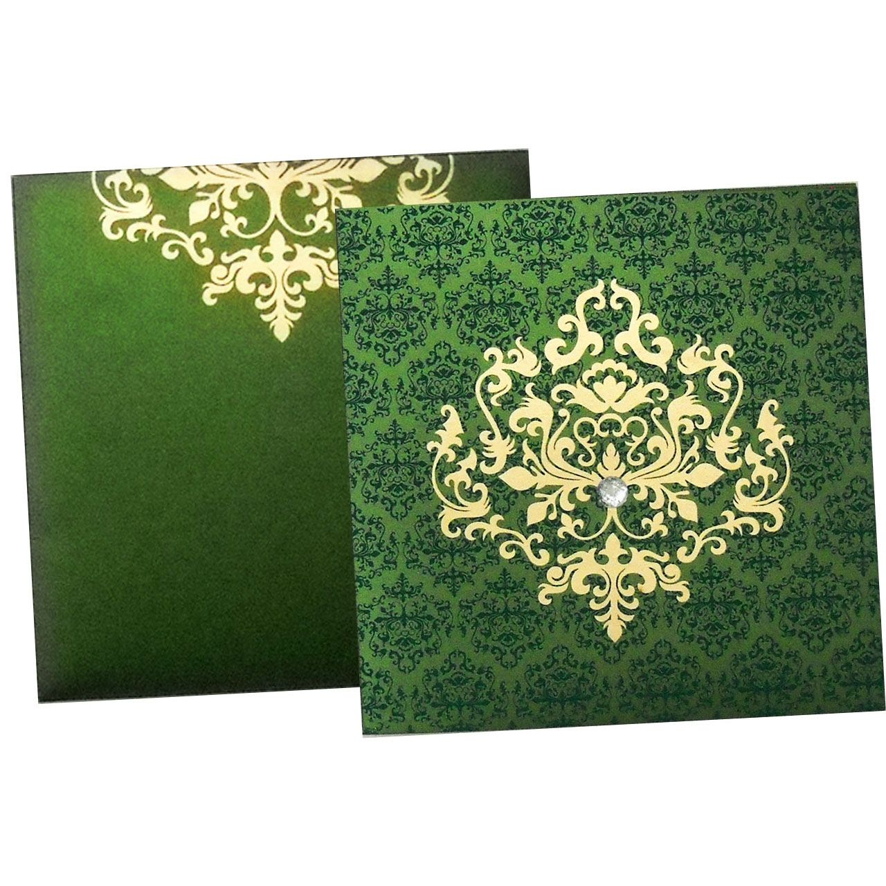 muslim wedding card with raised gold color printing on shimmery