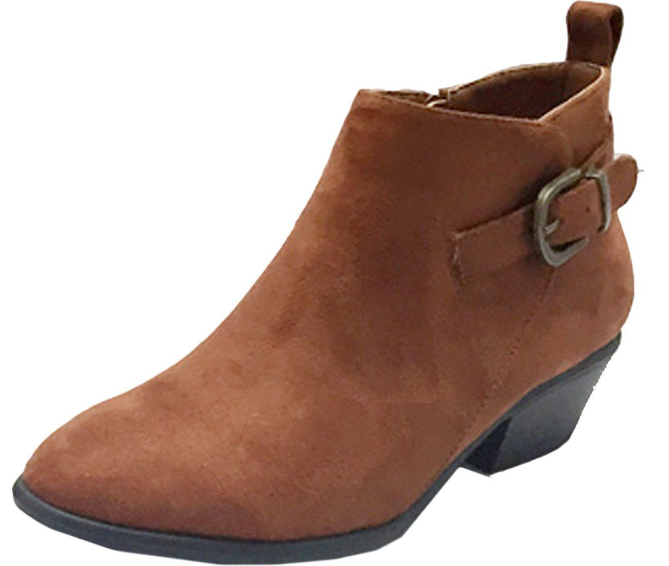 Women's Manny-24 Buckle Stacked Low Heel Ankle Bootie
