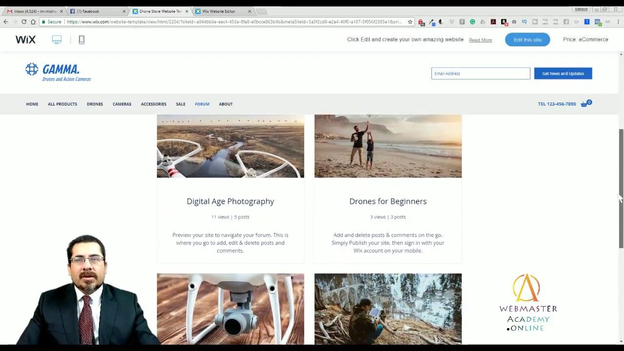 Drone Store ECommerce Template From Wix Web Design Tutorial - Wix ecommerce templates