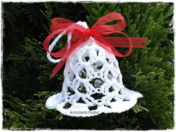 Christmas Bell ornaments White crochet lace bells home decor