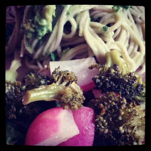 Tonight's Dinner! Roasted Broccoli & Radish with Soba Noodles tossed in an Avocado & Cilantro Aioli!! Double Yum!! | www.MommyHiker.com