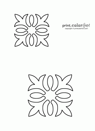 Free Quilting Stencils Hawaiian Quilt Stencil Print Color - quilt block patterns coloring pages
