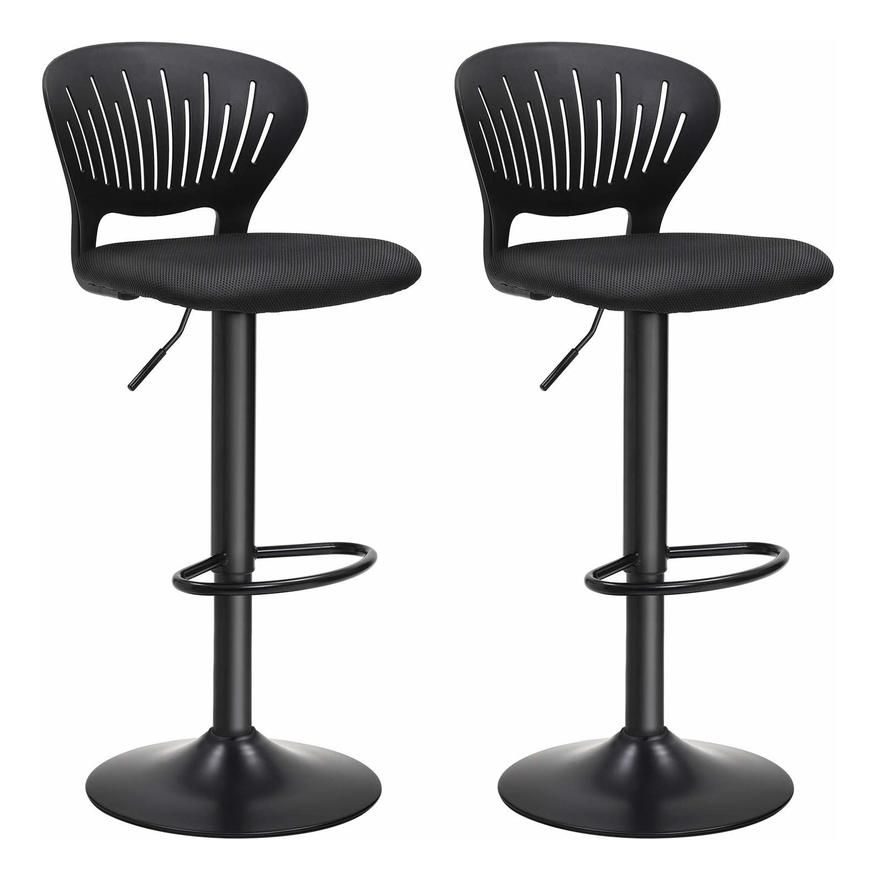 Tabourets De Bar Lot De 2 Hauteur Reglable Assise Rembourree Dossier En Forme De Couronne Tissu Respirant Pivotant Pour Cuisine Bar Noir Ljb04bk Home Decor Dining Chairs Furniture