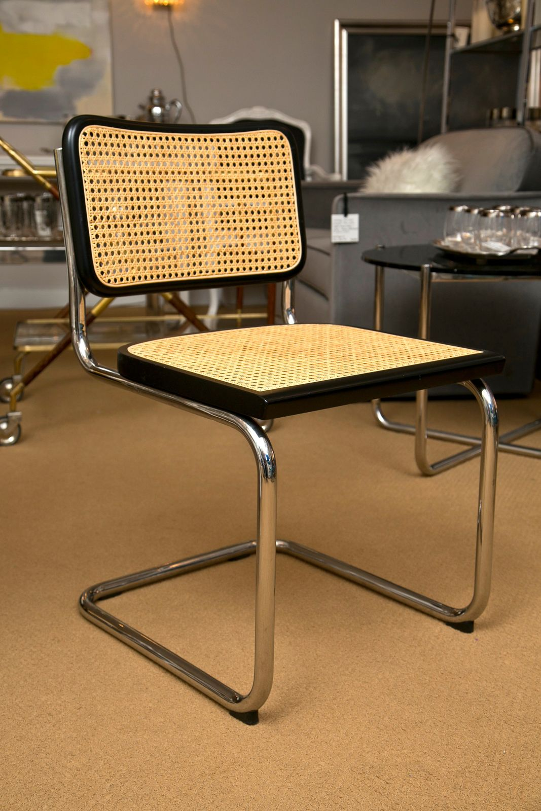 Vintage Cantilever Cesca Chair Mod Modernist Decor Two Marcel Breuer Style Side Chairs 1970s Furniture Bauhaus Design Mid Century Modern