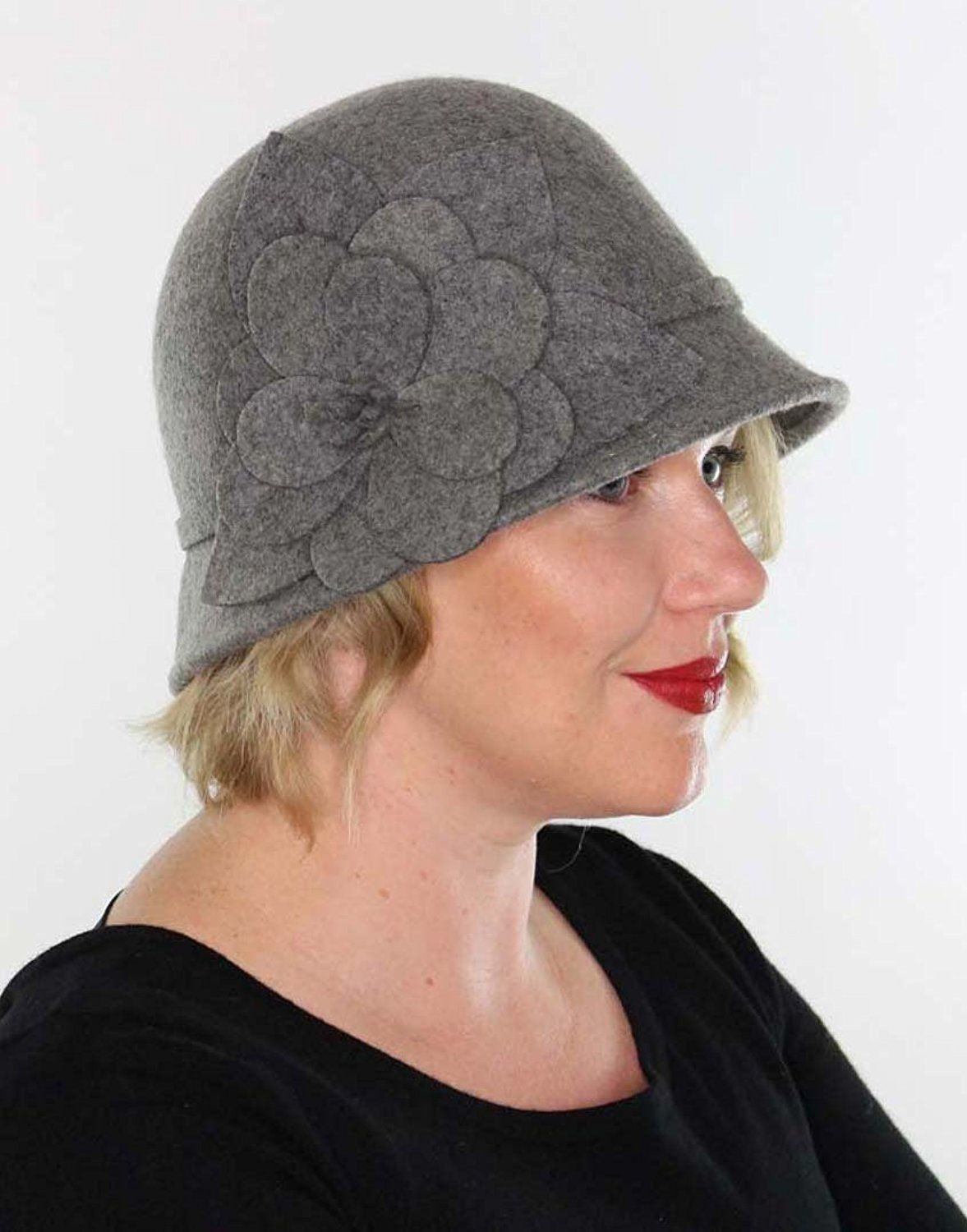 892c6d03202 Ella Wool Bucket Hat with Flower Vintage Cloche Flapper Tea Party Derby  Church (Gray) at Amazon Women s Clothing store