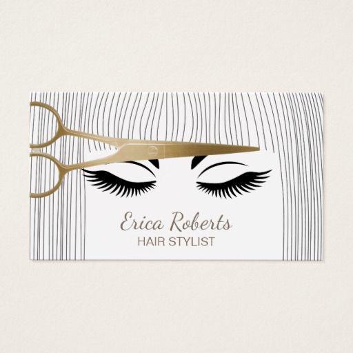 Hair Stylist Gold Scissor Girl Hair Salon Business Card