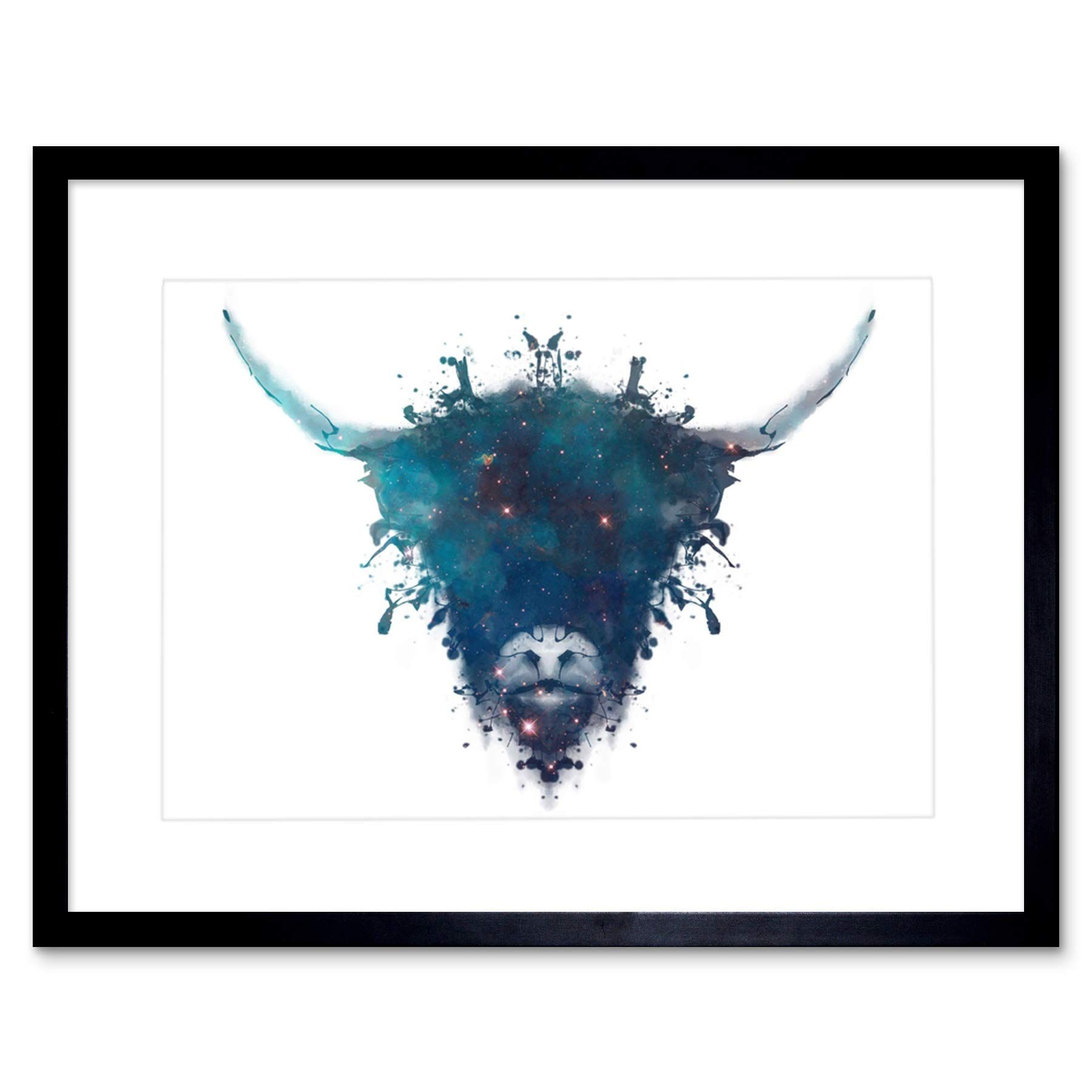 Wee Blue Coo Graphic Ink Splat Highland Cow Framed Picture