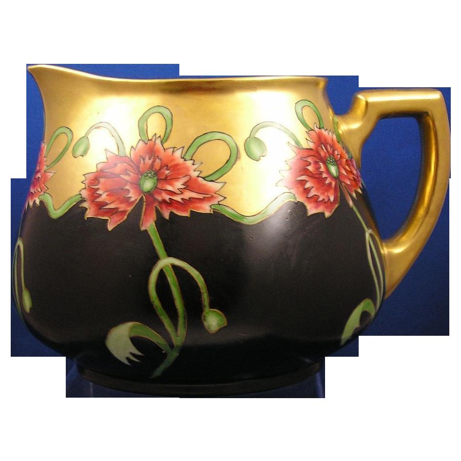 William Guerin & Co. (WG&Co.) Limoges Red Floral Motif Pitcher (Signed M. Keeler/Dated 1911)