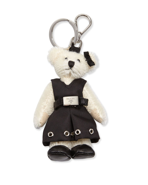 ec1b0b238782 Prada Marlene Teddy Bear Charm for Handbag (Bianco Nero)