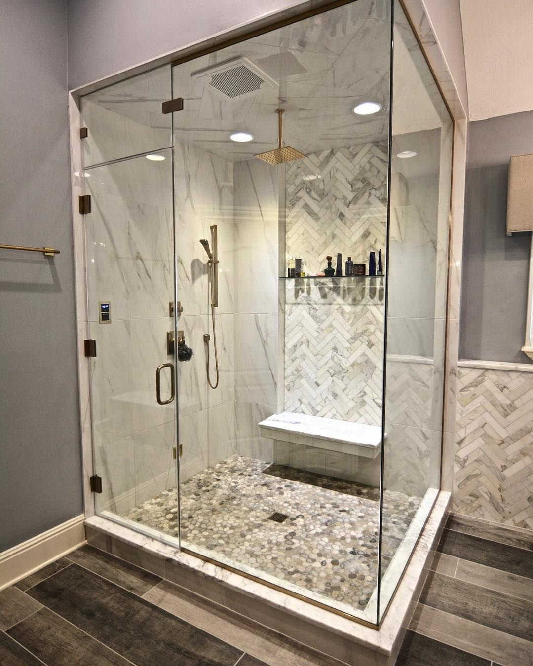 Chateau Kitchens On Instagram Over 9 Tall Ceiling In This Steam Shower Designervictoria St Tall Ceilings Hospital Interior Design Bathroom Makeover