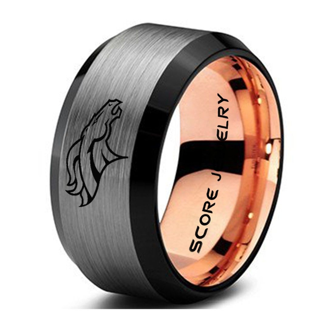 10mm Broncos Ring Broncos Jewelry Black Tungsten Band With Beveled Edge Broncos Logo Ring Black Tungsten Ring Black Tungsten Rings Black Tungsten Band Tungsten Wedding Bands