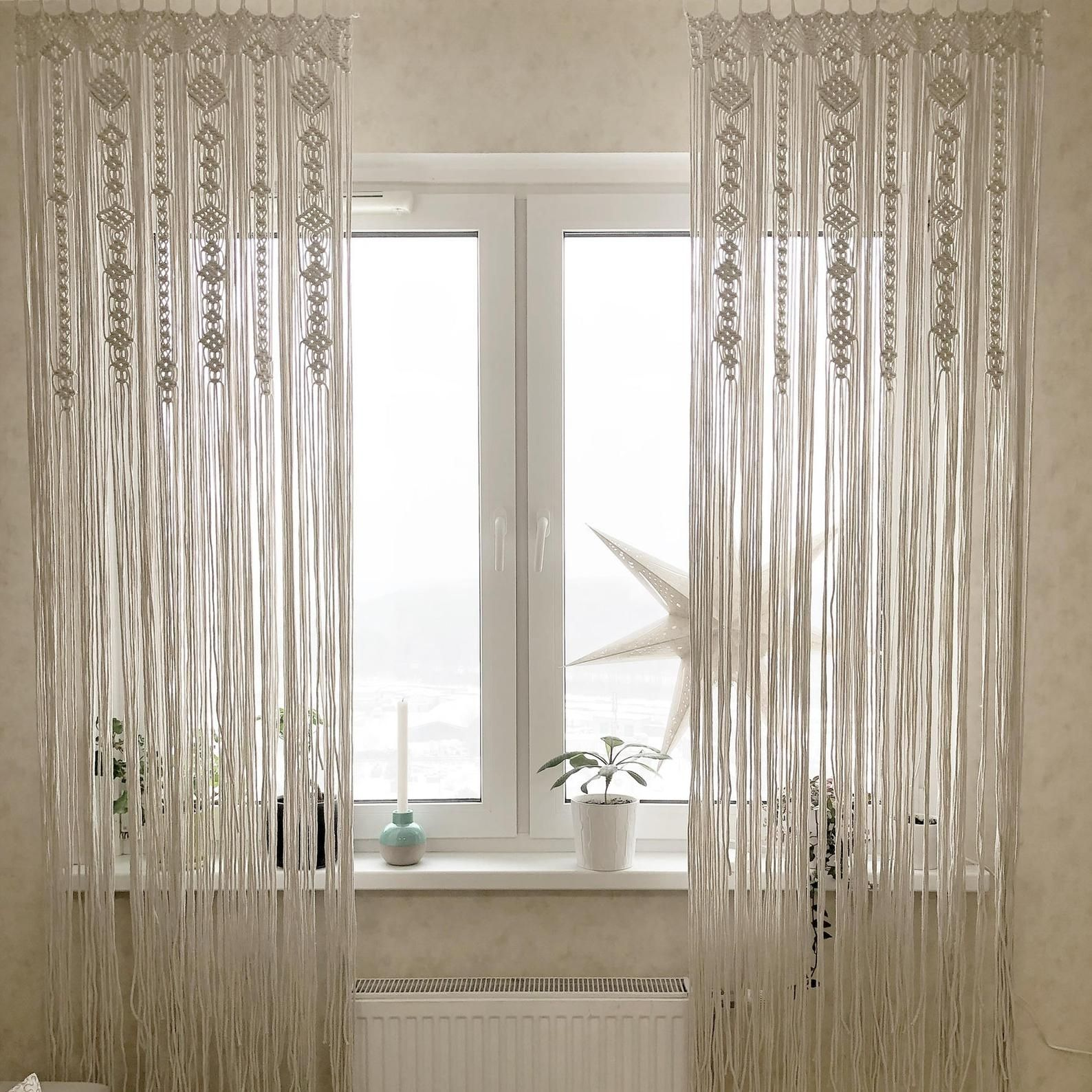Large Macrame Door Curtains Of 2 Or 1 Panels Macrame Window Etsy Macrame Door Curtain Macrame Curtain Door Curtains