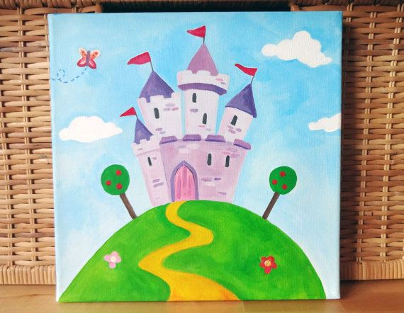 Items Similar To Lovely Girls Princess Castle Wall Art Canvas Painting For Nursery Bedroom Playroom On Etsy Kids Canvas Painting Nursery Paintings Kids Canvas