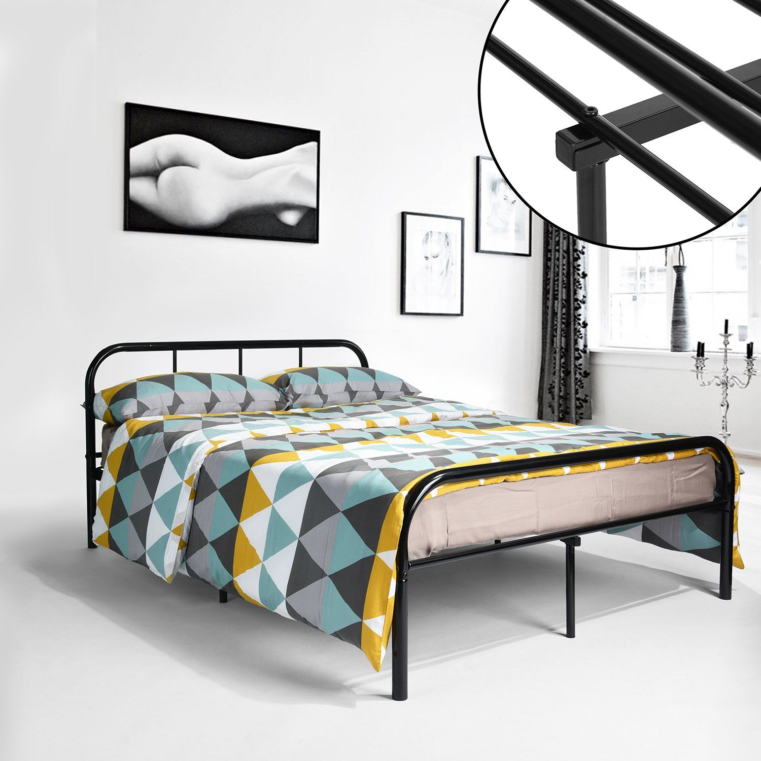 GreenForest Full Size Bed Frame with Headboard and Stable