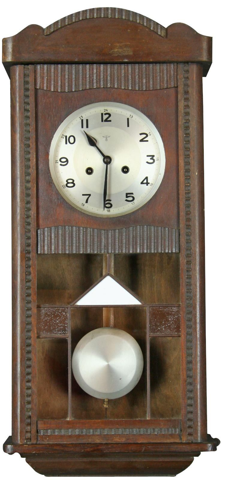 Vintage German Art Deco Wall Clock Regulator 1930 With Stained