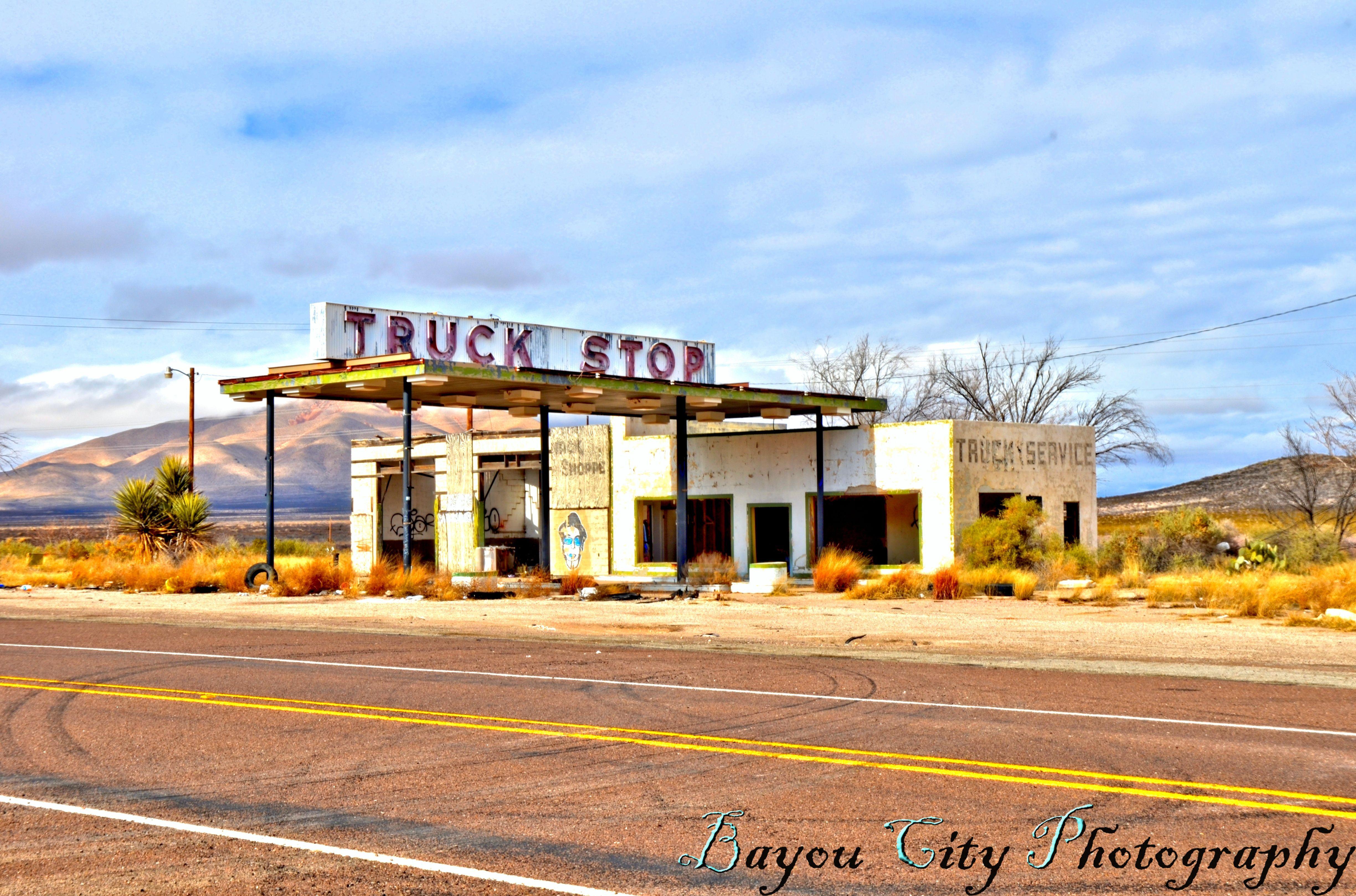 Old Truck Stop Along Highway 90 Van Horn Texas Highway 90 West
