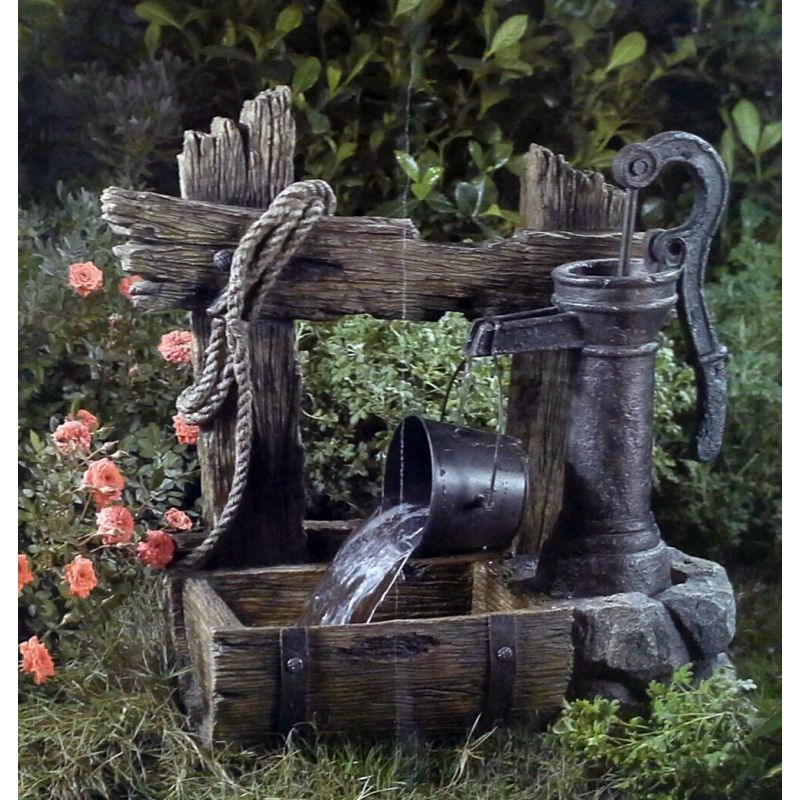 Water Pump Bucket Decorative Water Resin Garden Fountain. Electric Pump  Included. 22.6 X 10
