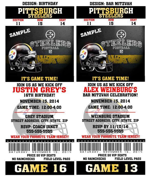 12 per pack birthday party invitations card pittsburgh steelers 12 per pack birthday party invitations card pittsburgh steelers birthday ticket invitation nfl football weddings baby filmwisefo Gallery