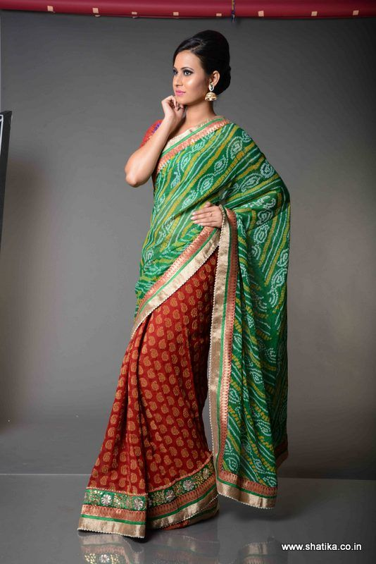 a02007369c Akanksha Half and Half Pure Bandhej Saree: Worthy of attention among all  Jaipuri Bandhej sarees online, Akanksha Half and Half Bandhej Saree is  delectably ...