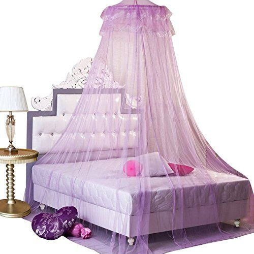 GYBest New Stylish Round Lace Dome Bed Canopy Netting Princess Mosquito Net  Purple   1.