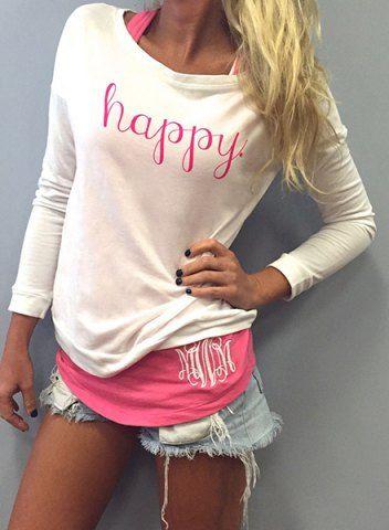 Stylish Scoop Neck Long Sleeve Letter Print T-Shirt + Tank Top Women's TwinsetT-Shirts | RoseGal.com